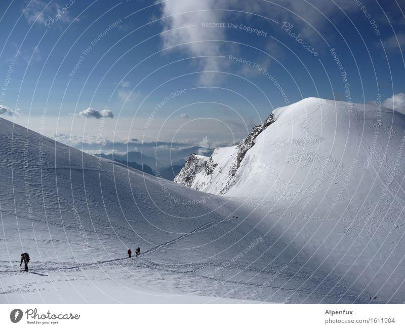 Auf und Nieder Klettern Bergsteigen Wolken Hügel Felsen Alpen Berge u. Gebirge Monte Rosa Gipfel Schneebedeckte Gipfel Gletscher laufen wandern Freude Glück