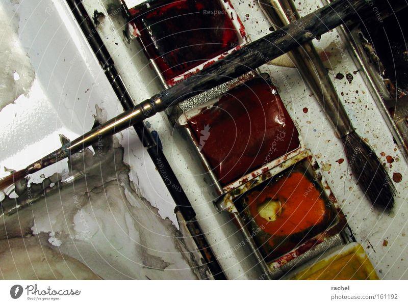 Alt & Gebraucht Freizeit & Hobby Studium Kunst Künstler Maler Schreibwaren Künstlerbedarf zeichnen alt dreckig mehrfarbig rot Kreativität Malkurs Pinselstiel