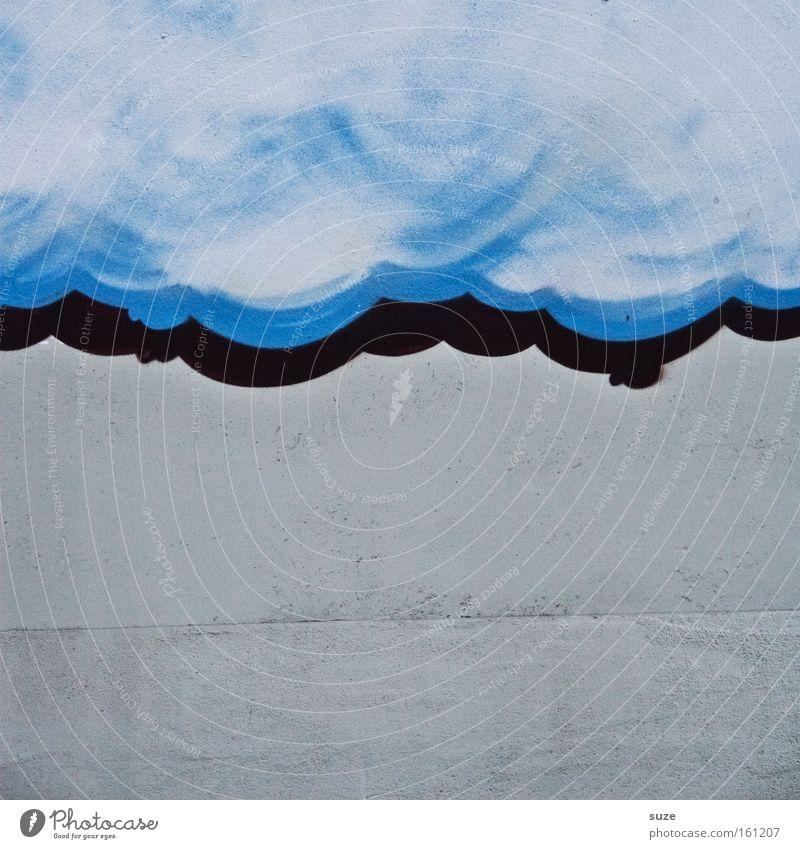 Wolkendecke Himmel blau weiß Wolken Graffiti Wand Mauer grau Stil Stein Hintergrundbild Wetter Fassade Lifestyle Design authentisch