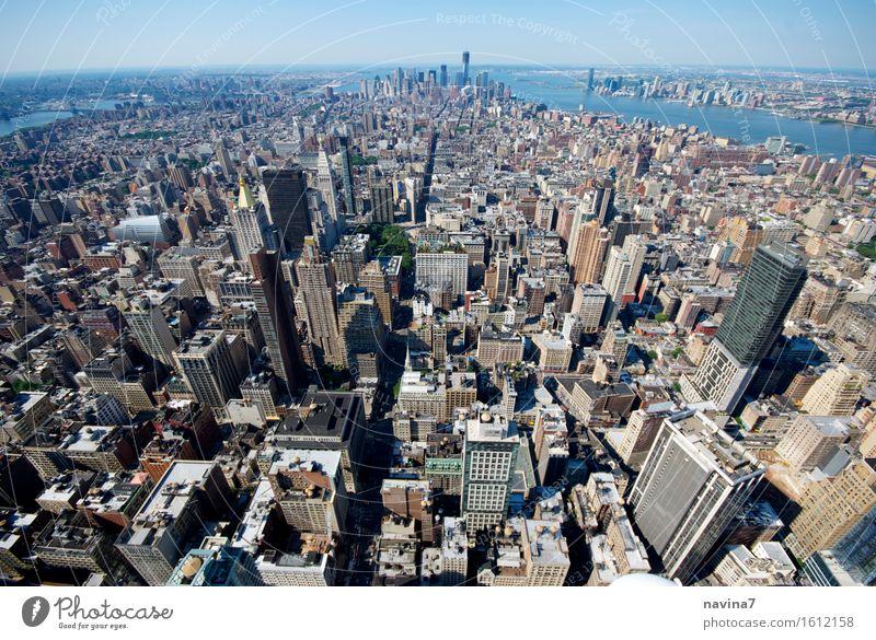 New York New York City bauen Häusliches Leben Unendlichkeit Wachstum RAW Farbfoto Außenaufnahme Luftaufnahme Menschenleer Vogelperspektive Weitwinkel