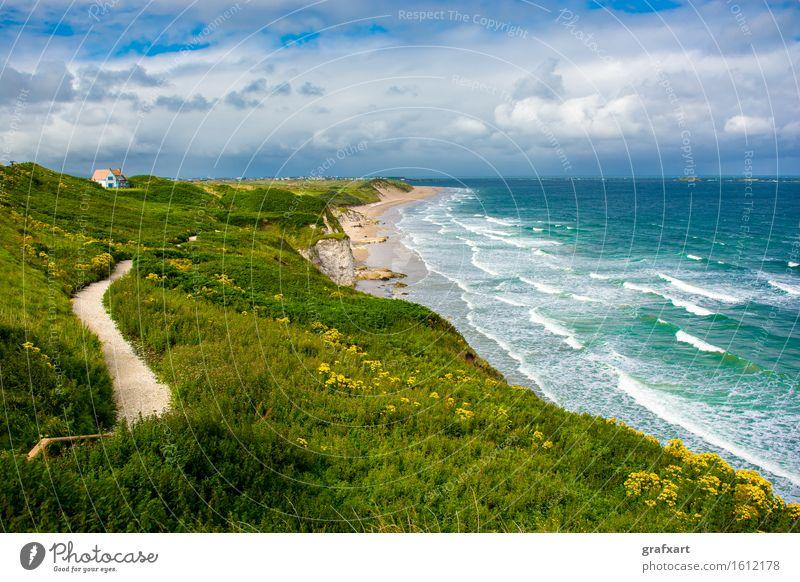 Sandstrand bei Portrush in Nordirland Republik Irland Küste Haus Meer Ferien & Urlaub & Reisen Reisefotografie Wellen Atlantik Aussicht Brandung Großbritannien