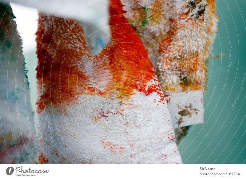 73 [mallappen] Kunst Gemälde Kultur streichen dreckig rot weiß Farbe Kreativität Putztuch Farbstoff Kunsthandwerk geschmackvoll musisch Mallappen