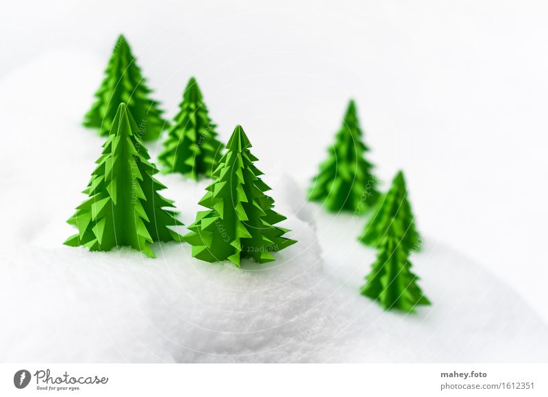 Papierwald Basteln Handarbeit Winter Dekoration & Verzierung Weihnachten & Advent Landschaft Schnee Baum Wald Hügel einfach kalt klein grün weiß Weihnachtsbaum