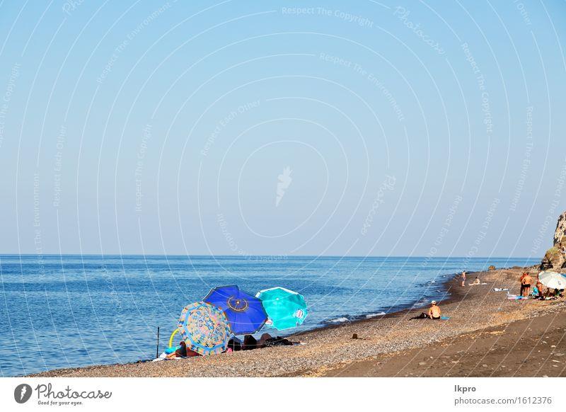und Mittelmeerküstenlinie Meerrotstrand Himmel Natur Ferien & Urlaub & Reisen blau schön Sommer weiß Sonne Landschaft Haus Strand Berge u. Gebirge natürlich