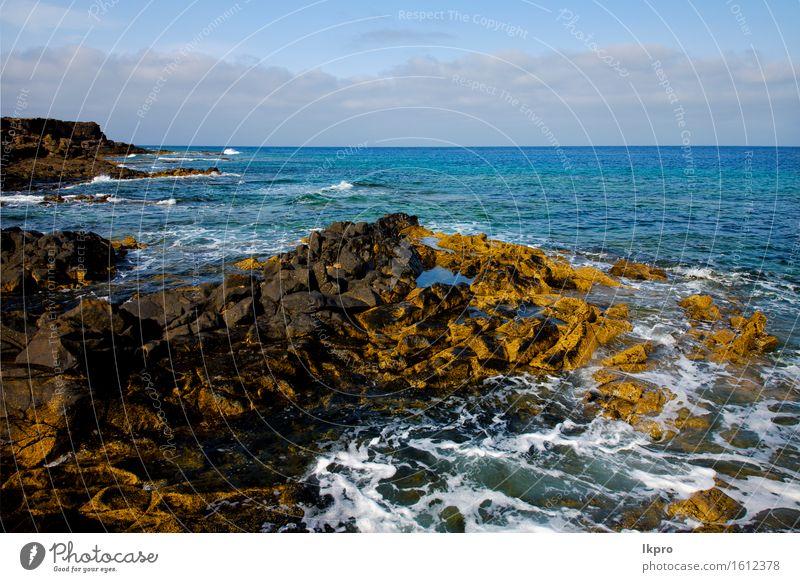 Spanien Landschaft Stein Himmel Wolken Strand Natur Ferien & Urlaub & Reisen Pflanze Sommer Meer schwarz Küste Sand Felsen Tourismus dreckig