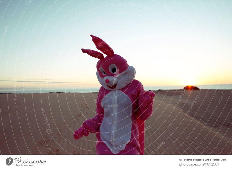 Wüste, was geht ab? Kunst ästhetisch Hase & Kaninchen Ostern Hasenohren Hasenpfote rosa Himmel Kostüm Ohr Freude spaßig Spaßvogel Spaßgesellschaft Tanzen