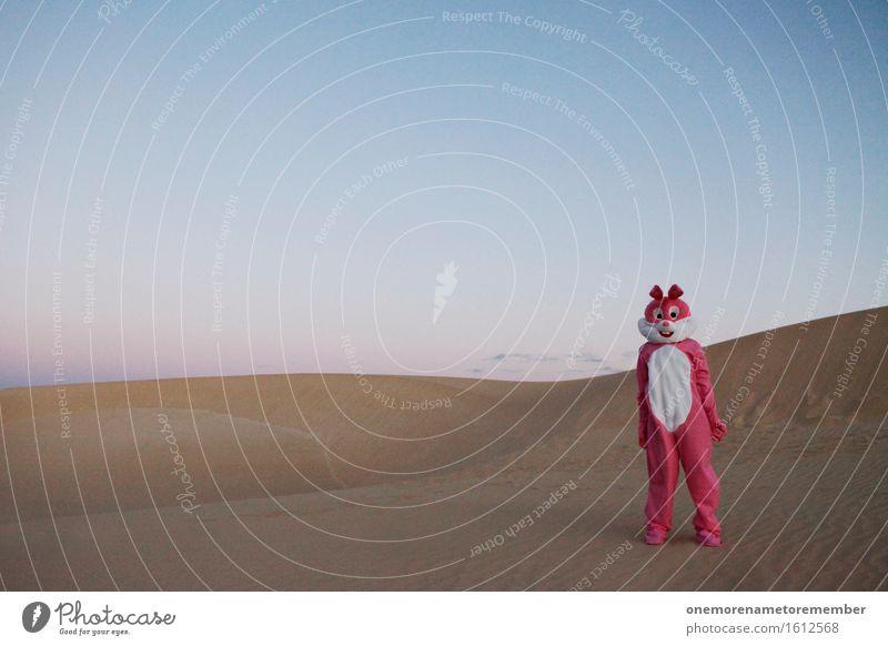 ich hab nix gemacht... Kunst Kunstwerk ästhetisch Hase & Kaninchen rosa Eyecatcher 1 Kostüm Irritation Wüste Sand Sommerurlaub Farbfoto mehrfarbig Außenaufnahme
