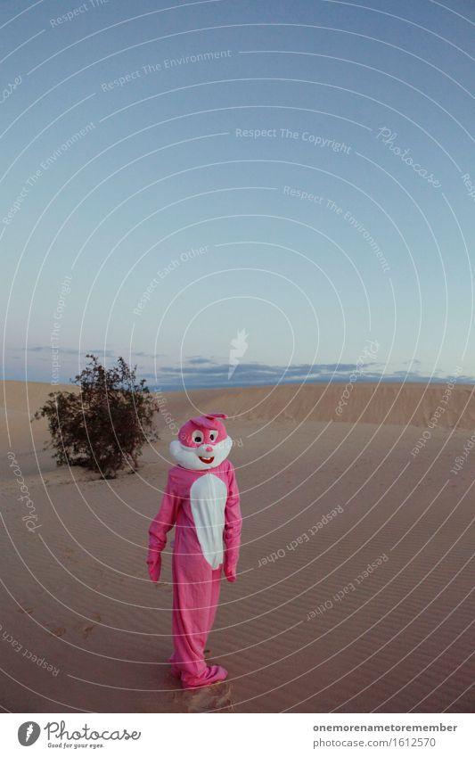 auf geht's... Kunst Kunstwerk Abenteuer ästhetisch Hase & Kaninchen Hasenohren Hasenzahn Hasenpfote rosa Blauer Himmel Kostüm verkleiden Freude Unsinn Sand