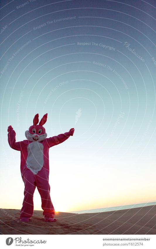 Samba Hase Kunst Kunstwerk ästhetisch Hase & Kaninchen Hasenohren Hasenjagd Hasenpfote rosa Blauer Himmel Karnevalskostüm verkleidet Kostüm Partystimmung