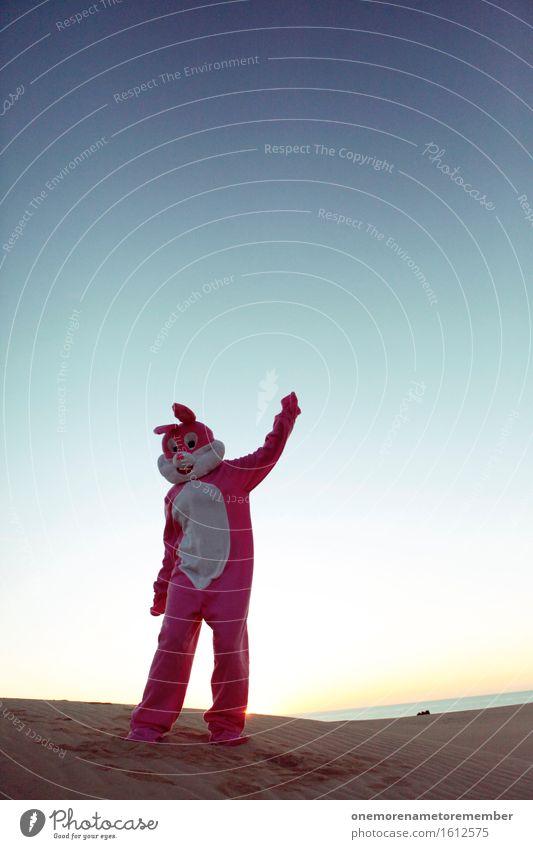 last evening Kunst ästhetisch Körperhaltung Hase & Kaninchen Hasenohren Hasenzahn Hasenpfote Tanzen Partystimmung Partygast Partyservice Blauer Himmel rosa