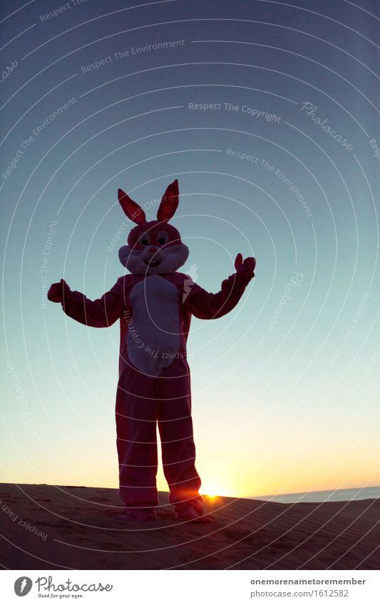 entspannter Hase Kunst Kunstwerk ästhetisch Hase & Kaninchen Hasenohren Hasenpfote Kreativität Kostüm Freude außergewöhnlich Farbfoto mehrfarbig Außenaufnahme