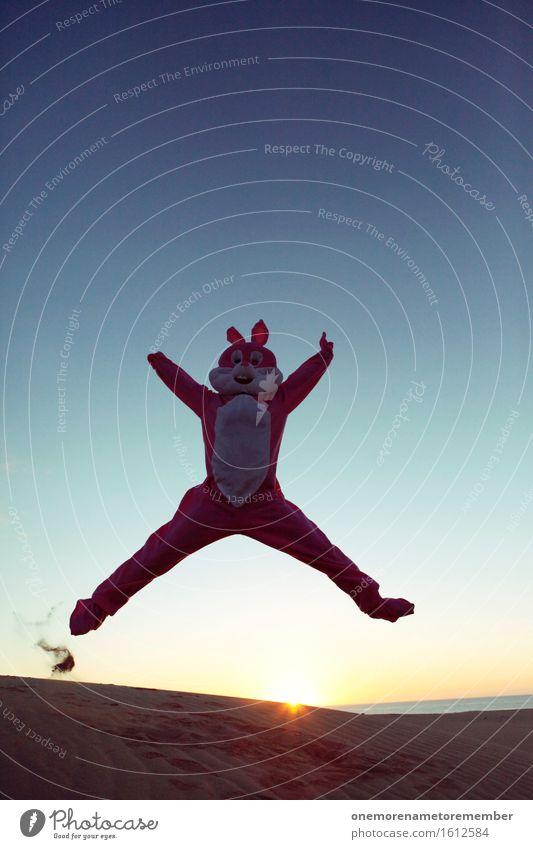 Party-Hase! Kunst ästhetisch Hase & Kaninchen Kostüm Freude spaßig Spaßvogel Spaßgesellschaft Partystimmung Partynacht Partygast Sonnenaufgang Himmel springen