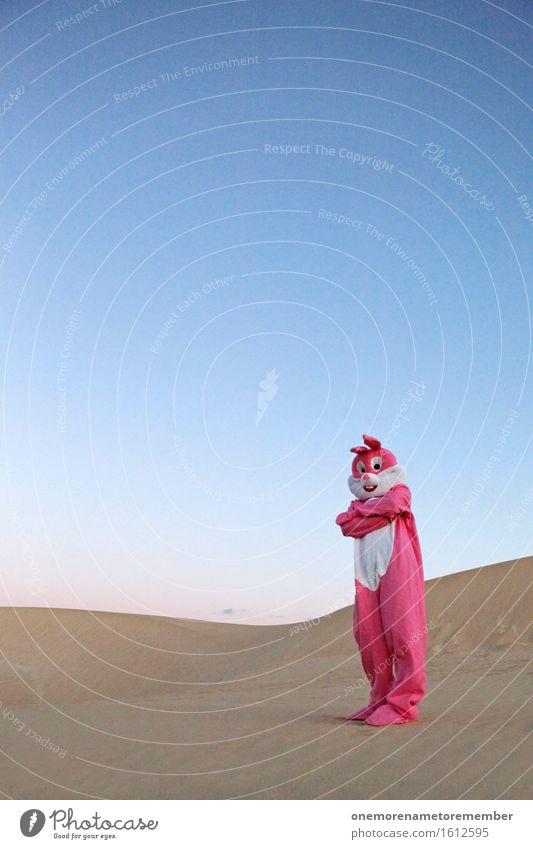 JO MANN! Kunst Kunstwerk ästhetisch Hase & Kaninchen Hasenohren Wüste Sand Sandstrand rosa Eyecatcher Blauer Himmel Freude Unsinn Farbfoto mehrfarbig