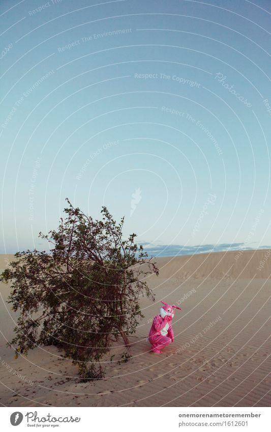 erwischt Kunst Kunstwerk ästhetisch Spaßvogel Freude spaßig Spaßgesellschaft Hase & Kaninchen rosa Sträucher verstecken Ostern lachen grinsen frech Unsinn Wüste