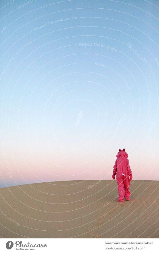Tschööö I Kunst Kunstwerk ästhetisch laufen gehen Einsamkeit Wüste Surrealismus Kostüm rosa Eyecatcher Farbfleck verkleidet Tier Kreativität Farbfoto mehrfarbig