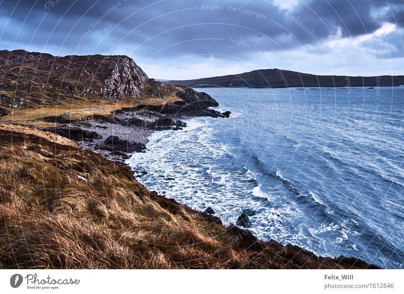 Einsame Bucht Ferien & Urlaub & Reisen Tourismus Ausflug Abenteuer Ferne Freiheit Expedition Strand Meer Wellen Umwelt Natur Landschaft Urelemente Wasser Wolken