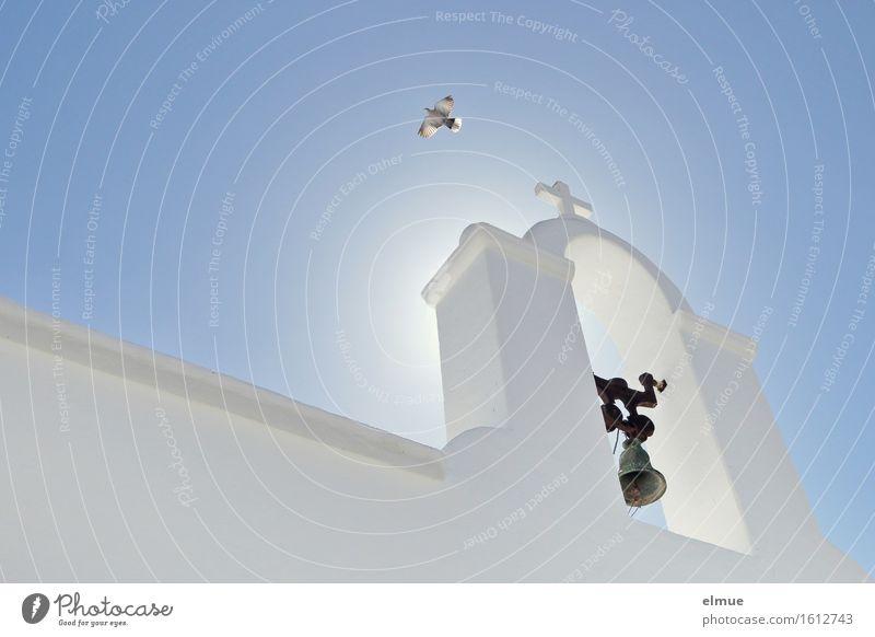 gen Himmel Ferien & Urlaub & Reisen Lanzarote Spanien Kirche Kirchturm Glockenturm Taube Kreuz fliegen leuchten ästhetisch blau weiß Gefühle Zufriedenheit