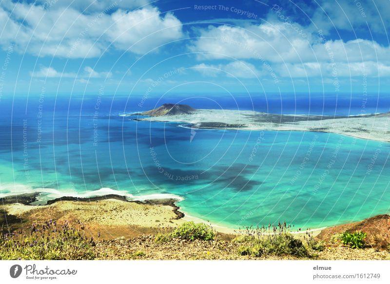let's swim Ferien & Urlaub & Reisen Ausflug Ferne Sommerurlaub Sonne Strand Meer Insel Wolken Wellen Küste Lanzarote La Craciosa Kanaren Unendlichkeit maritim