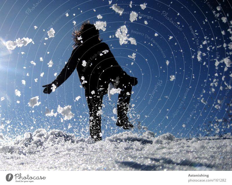 SCHNEEMANN Himmel Mann blau weiß Sonne Freude Winter kalt Schnee Bewegung Schneefall Flocke