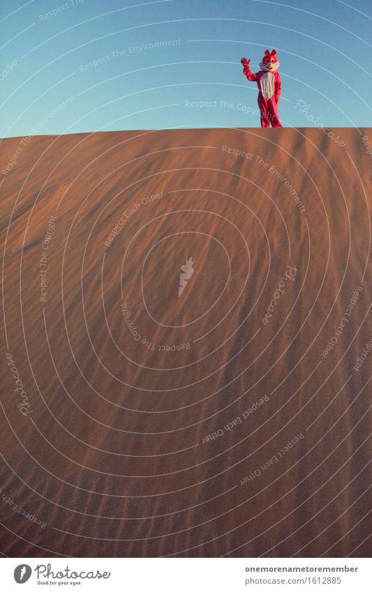 Winkehase Kunst ästhetisch Düne Wüste Sand heiß Wärme Hase & Kaninchen Kostüm rosa Eyecatcher Blauer Himmel winken Hallo Willkommen Kontrast aufwärts Hügel
