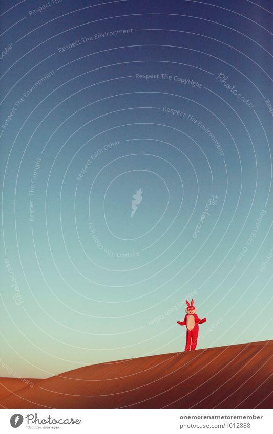 und nun? Einsamkeit Freude Kunst Sand rosa ästhetisch Wüste Düne Irritation Hase & Kaninchen Kostüm Kunstwerk Blauer Himmel spaßig Unsinn Spaßvogel