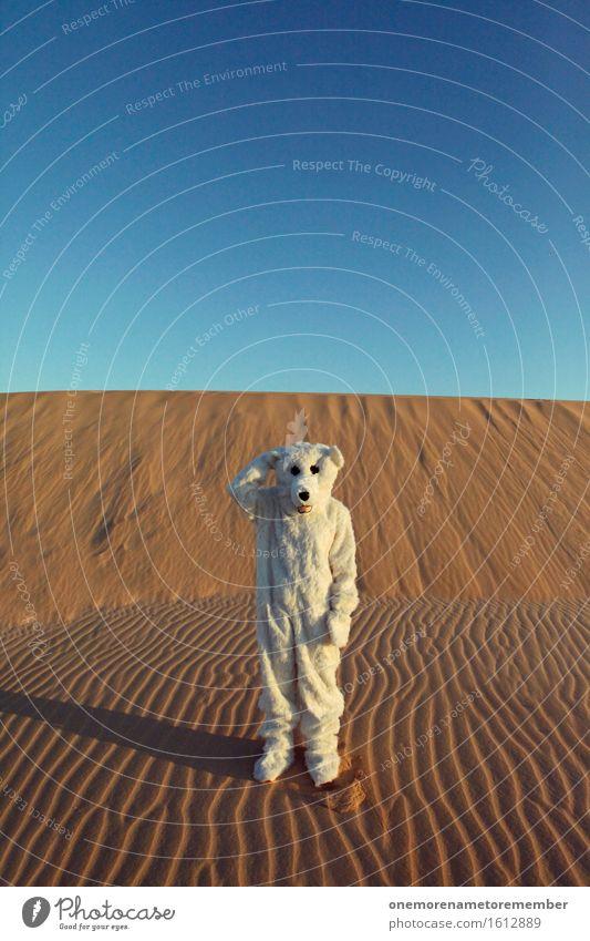 Ähm, what? Kunst Kunstwerk ästhetisch außergewöhnlich Philosoph Karriere Fragezeichen Eisbär Kostüm verkleidet Freude spaßig Spaßvogel Spaßgesellschaft Wüste