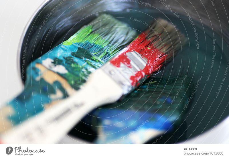 Malerisch ruhig Freizeit & Hobby streichen heimwerken Handwerker Anstreicher Pinsel Pinselstiel Borsten Holz liegen nass blau mehrfarbig grün rot türkis