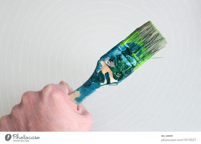 Es gibt immer was zu tun! Werkzeug Hand Kunst Künstler Maler Kunstwerk Gemälde Pinsel Pinselstrich Borsten festhalten streichen authentisch modern mehrfarbig