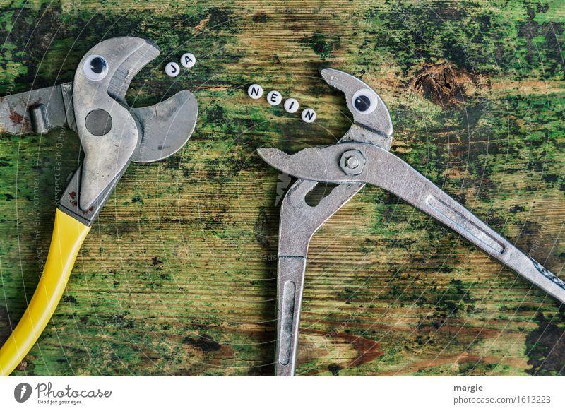 NEIN! .... JA! Beruf Handwerker Arbeitsplatz Baustelle Dienstleistungsgewerbe sprechen Team Werkzeug Tier 2 schreien gelb grün Ärger Feindseligkeit Frustration