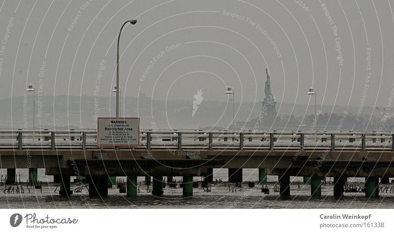 Miss Liberty. Wasser Ferne Freiheit Nebel USA Hafen Amerika New York City Manhattan Begrüßung Willkommen Freiheitsstatue New York State