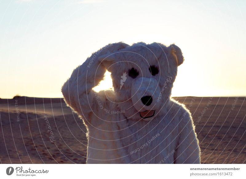 Grübler Kunst Kunstwerk ästhetisch Denken Philosoph nachdenklich kratzen Fell Eisbär Kostüm Freude spaßig Spaßvogel Spaßgesellschaft Wüste Kopf Zukunft