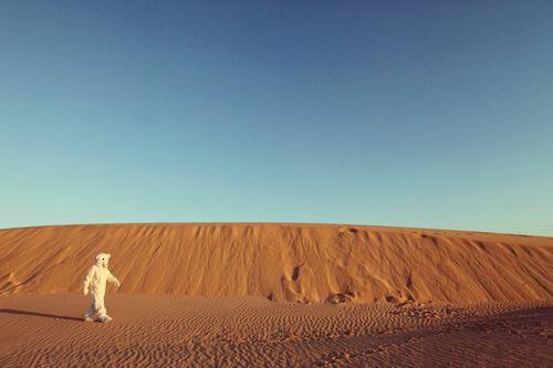 Das war doch Früher nicht hier Natur Wärme Kunst ästhetisch laufen Wüste Fell heiß Düne Sommerurlaub Umweltschutz Surrealismus Kostüm Kunstwerk Klimawandel