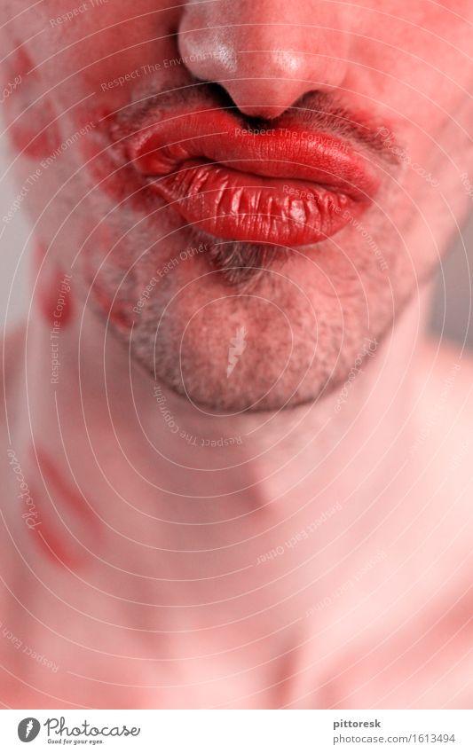 Knutschmund Kunst Kunstwerk ästhetisch Mund Kussmund Dreitagebart Bartstoppel Nase Verschmitzt Lächeln Mann maskulin Lippen Lippenstift Liebe Liebespaar