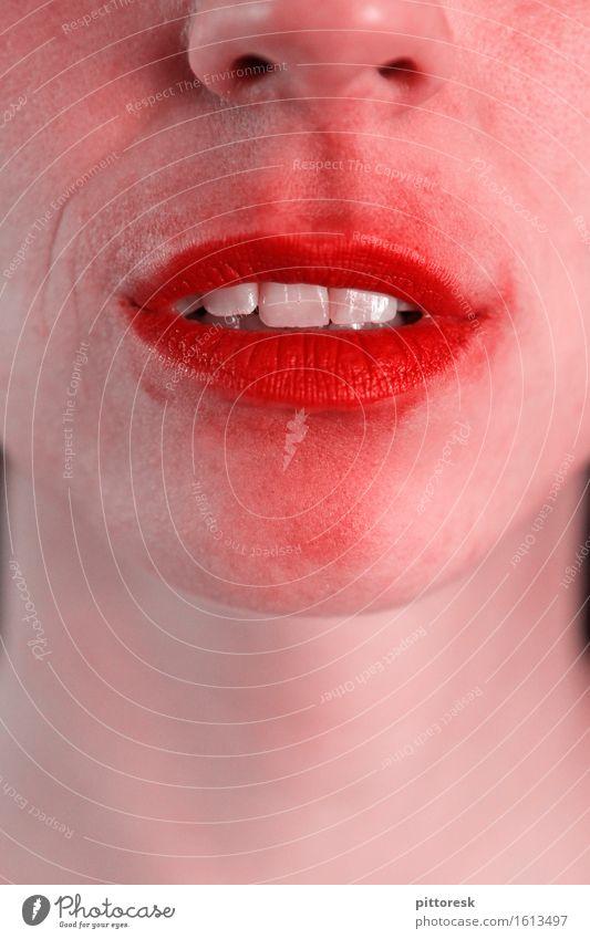 zerknutschtsie Kunst ästhetisch Lippen Lippenstift Lippenpflege feminin Zähne Gefühle emotionslos Lächeln Mund Küssen rot Farbfoto mehrfarbig Innenaufnahme