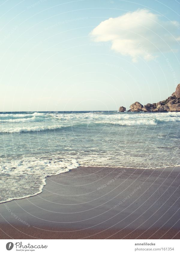 North Cyprus - Alagadi Turtle Beach Wasser Meer Sommer Strand Ferien & Urlaub & Reisen ruhig Wolken Erholung Sand Wellen Küste Horizont Felsen Insel Tourismus