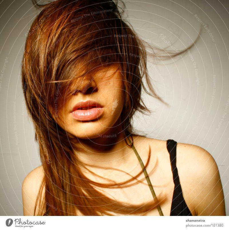 nice hair schön Haare & Frisuren feminin Frau Erwachsene Mund Lippen Wind brünett ästhetisch Haartrockner Friseur Farbfoto Studioaufnahme