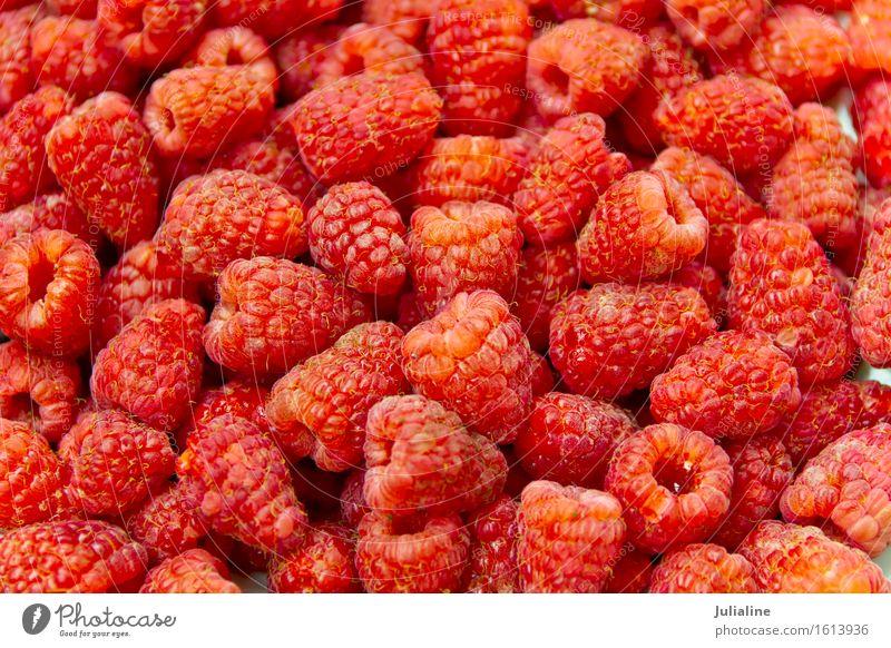 Frische rote Himbeere des Hintergrundes Vegetarische Ernährung frisch Himbeeren süß Beeren Lebensmittel Gesundheit roh organisch Gartenmaterial Farbfoto