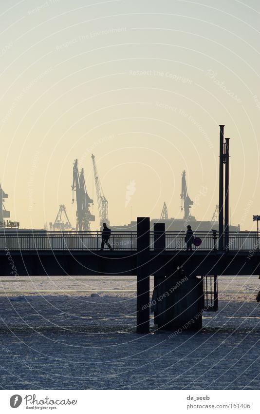 Hafen im Winter Eis Hamburg Brücke Fluss Kran Elbe Hafenkran