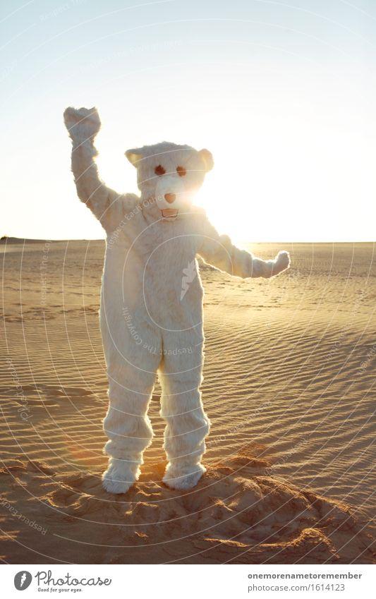Eis Eis Baby I Kunst Kunstwerk ästhetisch Eisbär Bär Wüste Kostüm verkleidet Freude spaßig Spaßvogel Spaßgesellschaft Tanzen Partystimmung Sonnenstrahlen Sommer