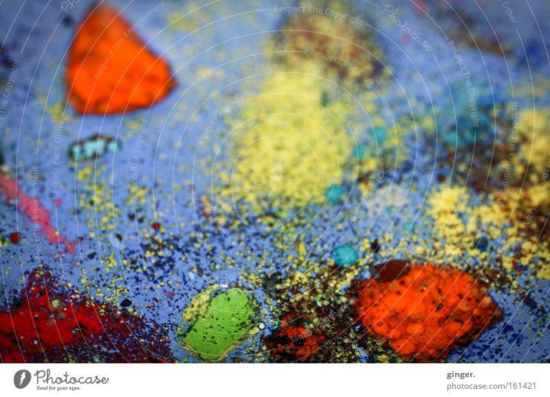 """Wieder eins von diesen """"Wassolldasseinfotos"""" blau grün rot Farbe schwarz gelb Metall Kunst Dekoration & Verzierung Zeichen Tropfen Fleck abstrakt Emaille tupfen"""