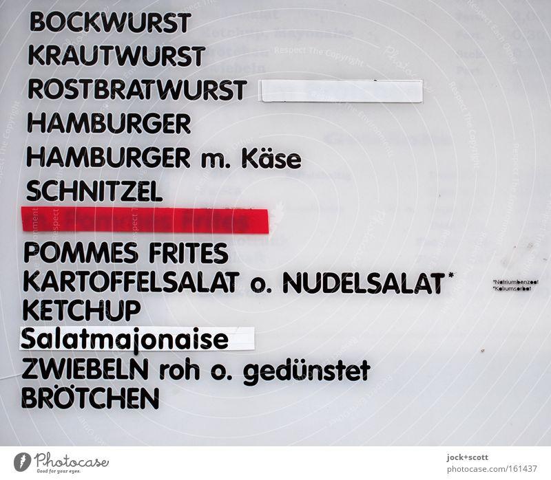 Menü vom Imbiss nebenan - Bitte einmal Schnitzel mit Kartoffelsalat Fleisch Wurstwaren Mittagessen Fastfood Übergewicht Gastronomie Leuchtkasten Kunststoff