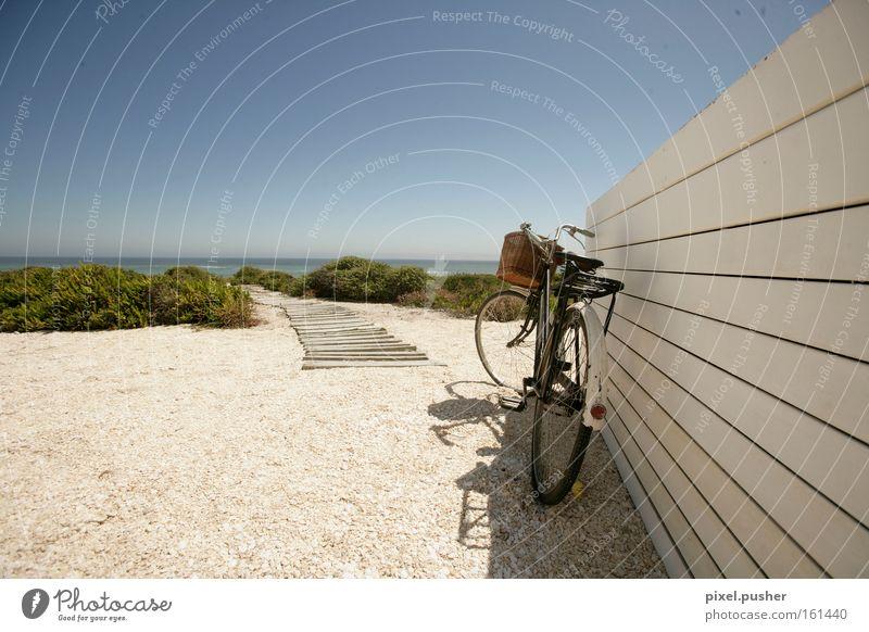 Beachbike Fahrrad Strand Steg Düne Erholung Ferien & Urlaub & Reisen Sand Himmel Meer blau Holiday