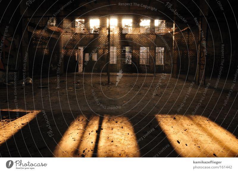 käfig Berlin Fabrik alt verfallen Käfig Zaun Fenster Gegenlicht Sonnenlicht Schatten dunkel Staub dreckig Licht