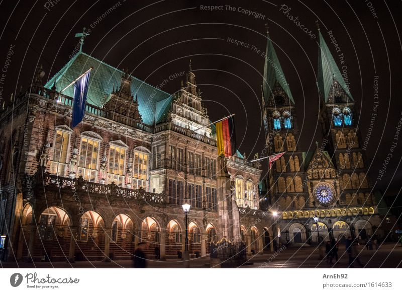 Bremer Rathaus + Dom Bremen Deutschland Europa Stadt Stadtzentrum bevölkert Haus Bauwerk Architektur Sehenswürdigkeit Denkmal alt gigantisch schön blau gelb