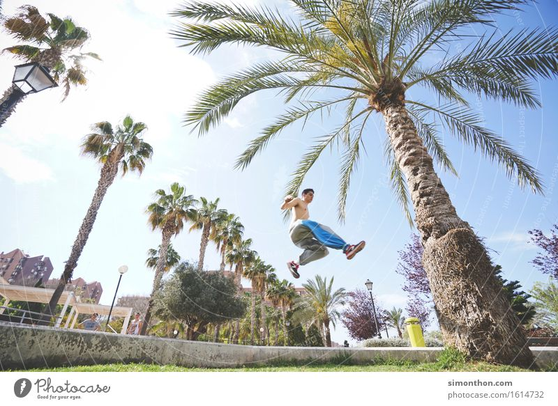 jump&run Mensch Ferien & Urlaub & Reisen Stadt Sommer Sonne Leben Bewegung Sport Lifestyle Gesundheit Garten Freiheit fliegen springen maskulin Park