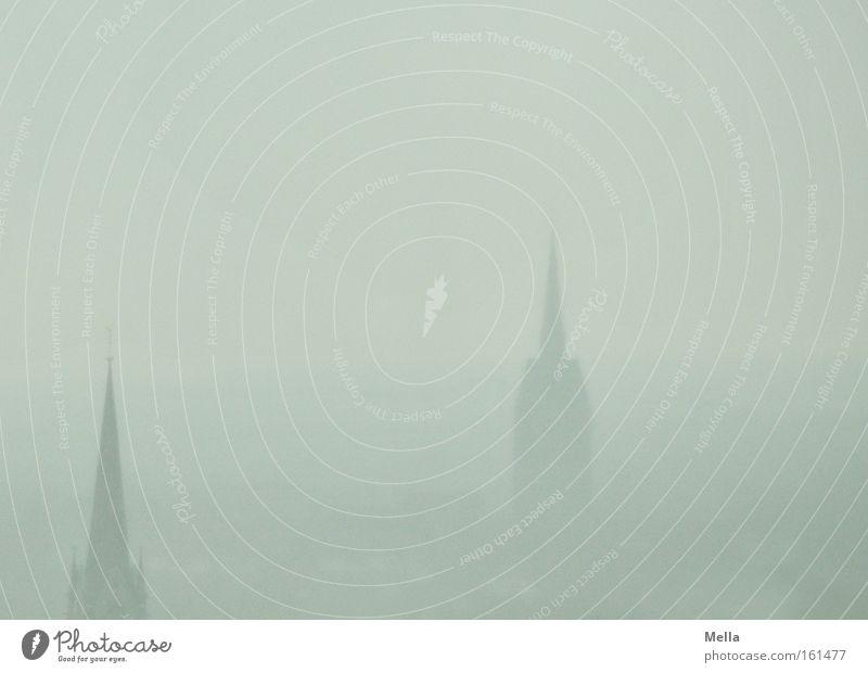 Hagel over Hildesheim Himmel 2 Nebel Wetter groß Kirche Aussicht Dunst April Gotteshäuser Kirchturm Überblick grau-blau