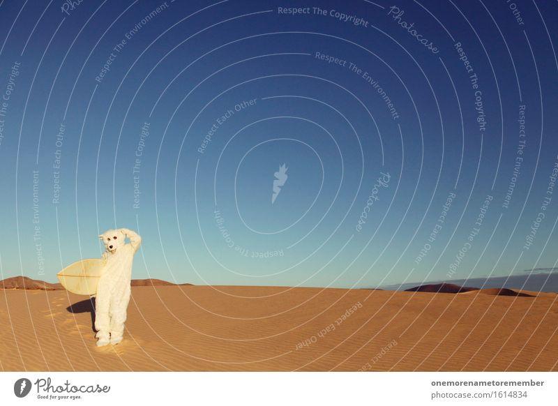 Ähm... also... ähm... ... scheiß Erderwärmung! Kunst Kunstwerk ästhetisch Eisbär Wüste Surfen Kontrast falsch verirrt Irritation Denken nachdenklich Surfbrett