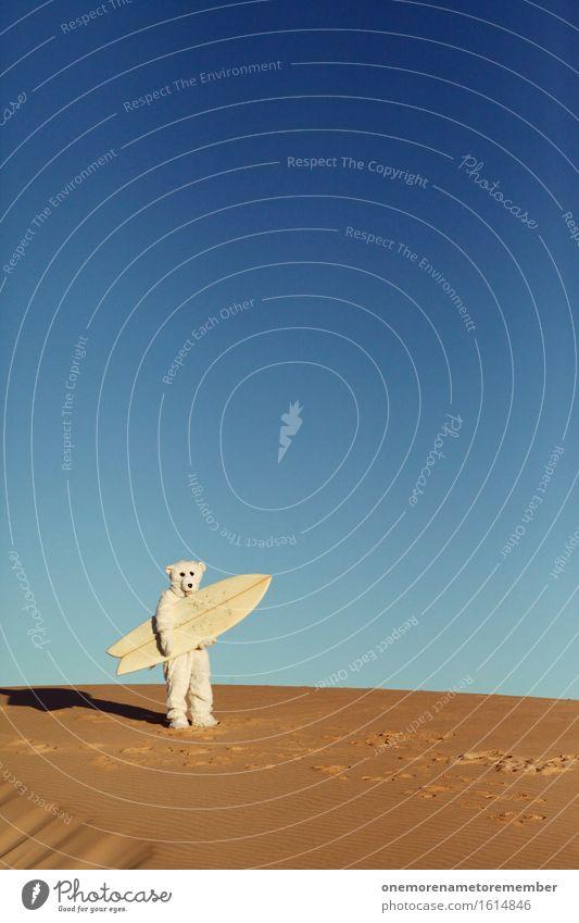 Game On! Kunst Kunstwerk ästhetisch Eisbär Kostüm Ungeheuer ungeheuerlich Surfen Surfer Surfbrett Surfschule dumm außergewöhnlich verirrt Irritation Wüste Sand
