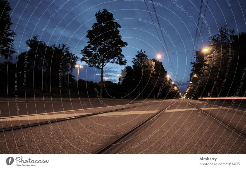 long way home Baum Straße Umwelt Bewegung Wege & Pfade Traurigkeit Beleuchtung Verkehr Energiewirtschaft Zukunft Güterverkehr & Logistik Gleise Verkehrswege Straßenbeleuchtung Verzweiflung Düsseldorf