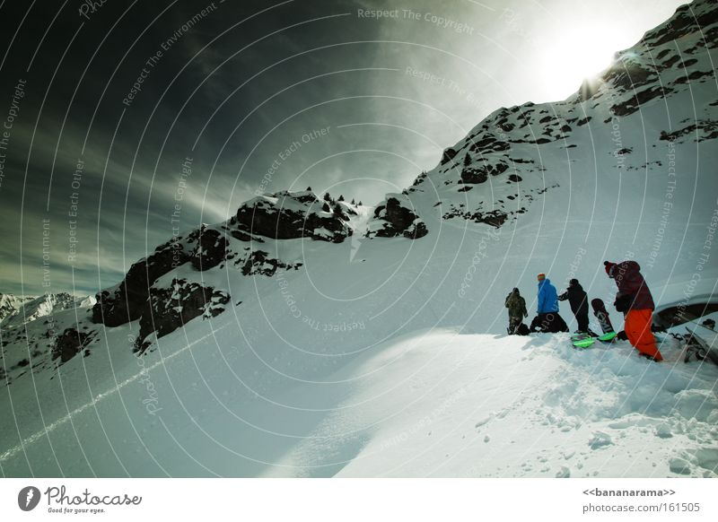 big boys am set Natur Winter Wolken Erholung kalt Schnee Berge u. Gebirge Menschengruppe groß Alpen Freestyle Sport Funsport Snowboarder